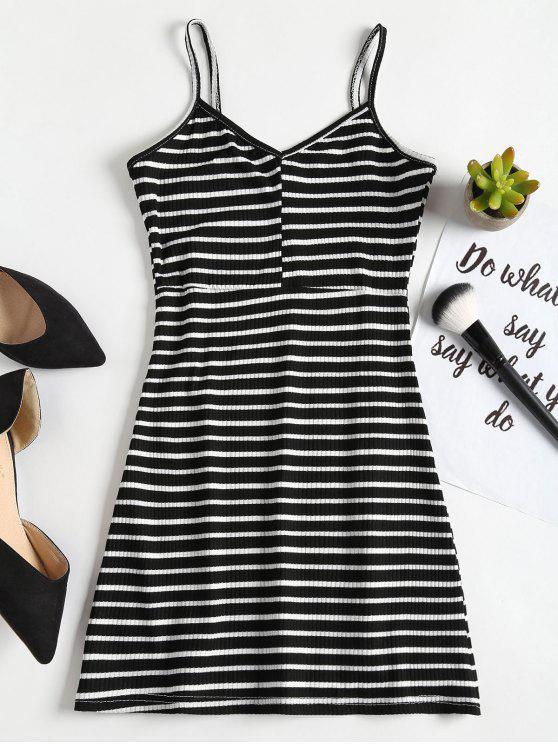 buy Casual Stripes Slip Mini Dress - BLACK ONE SIZE