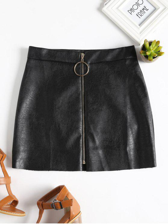 women's Zip Up PU Leather Mini Skirt - BLACK M