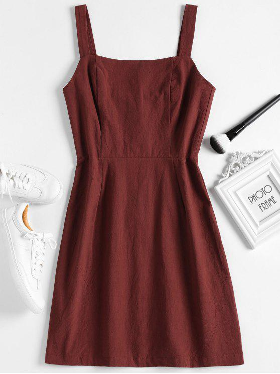 Mini-robe à manches froncées - Rouge Vineux L
