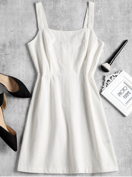 Shirred Panel Half Buttoned Mini Dress - Blanco S