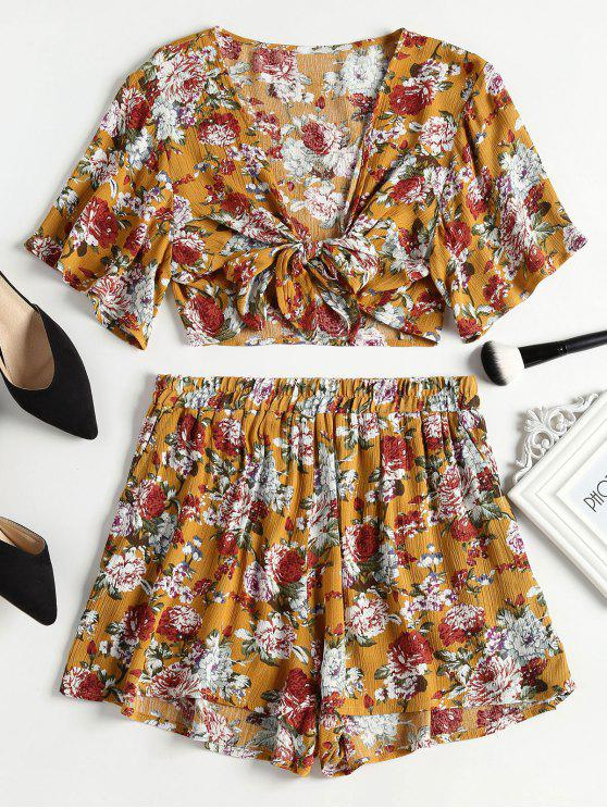 buy Tie Front Crop Top and High Waisted Shorts Set - SCHOOL BUS YELLOW S