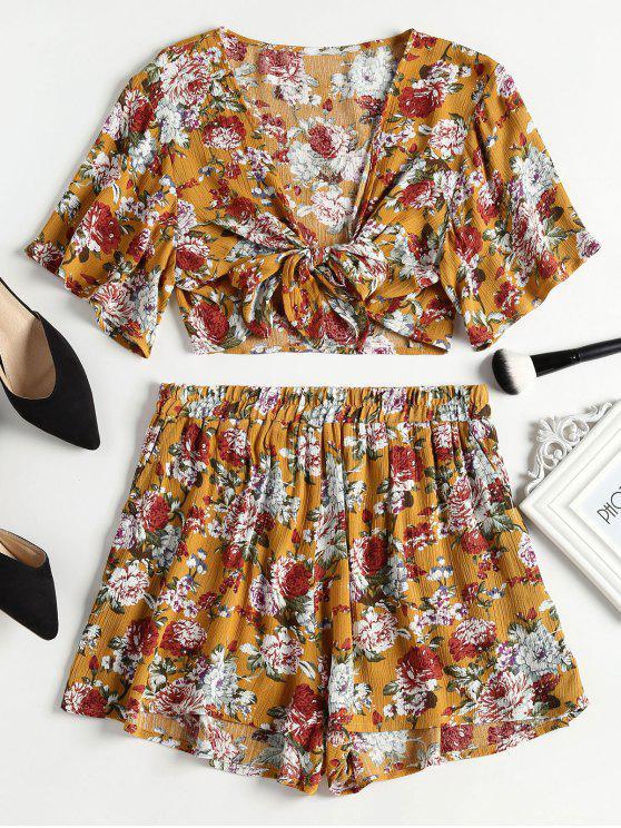 Conjunto de pantalones cortos con cintura anudada y pantalones cortos de talle alto - Amarillo de Autobús Escolar S