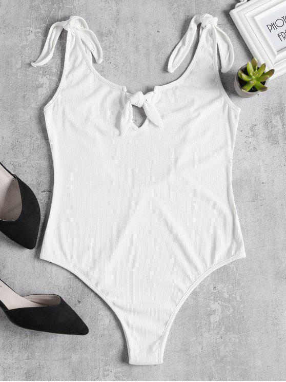 fancy Knitted Knotted Cut Out Bodysuit - WHITE L