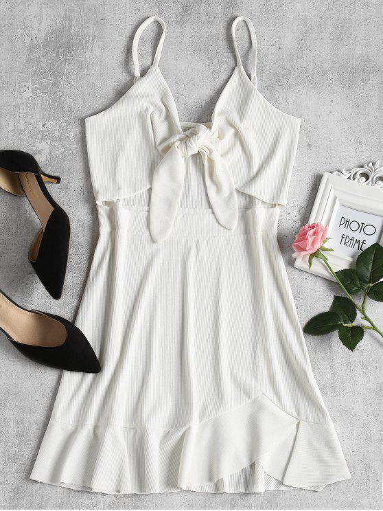 فستان مصغر ربطة المقدمة - أبيض M