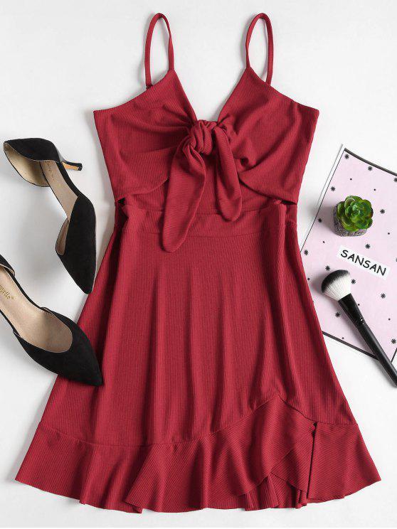 womens Slip Tie Front Mini Dress - CHERRY RED M