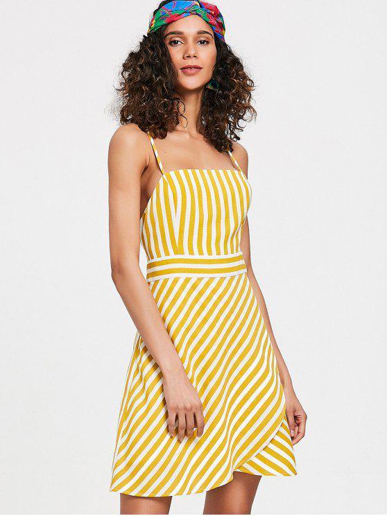 فستان كامي مخطط عارية الظهر - بني ذهبي S