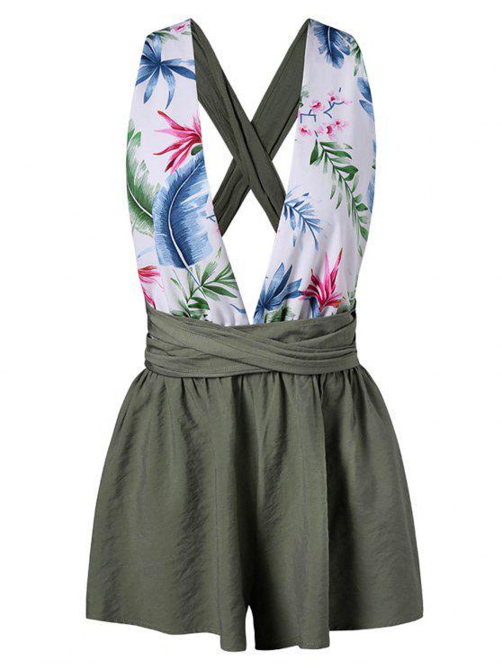 fashion Leaf Plunging Back Criss Cross Romper - GREEN XL