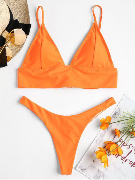 Conjunto de bikini con tanga con cordones en la parte posterior - Naranja Oscuro S