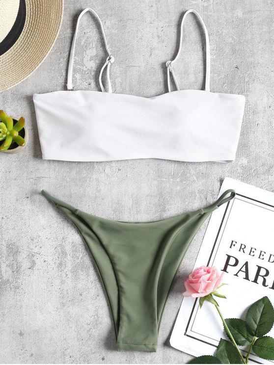 outfits Bandeau Thong Bikini Swimwear - WHITE L