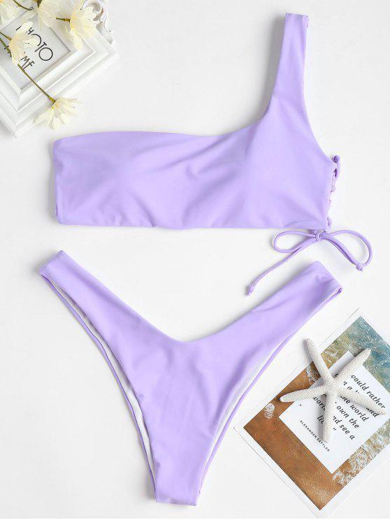 unique One Shoulder Lace-up Bikini Swimsuit - MAUVE L