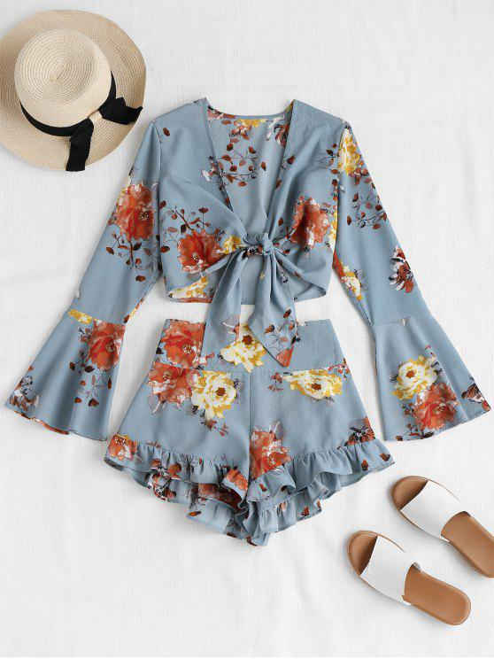 latest Bell Sleeve Floral Tie Front Matching Set - BABY BLUE M