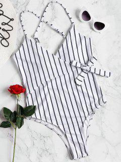 Striped Wrap Swimsuit - White S