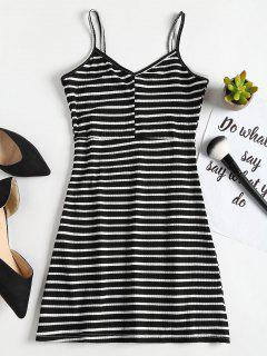 Casual Stripes Slip Mini Dress - Black