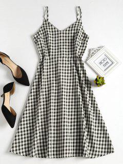 Back Zipper Gingham A Line Dress - Black