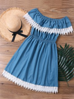 Lace Trim Overlay Off The Shoulder Dress - Denim Blue M