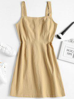 Shirred Panel Half Buttoned Mini Dress - Cookie Brown M
