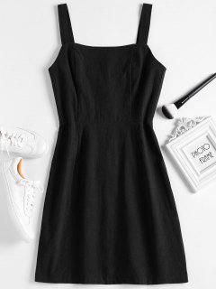 Shirred Panel Half Buttoned Mini Dress - Black L