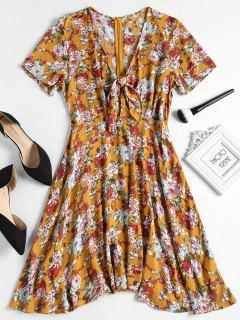 Floral Print Knot Front Tea Dress - School Bus Yellow S