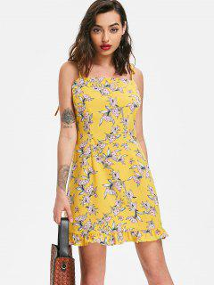 Ruffles Floral Print Cami Dress - Yellow L