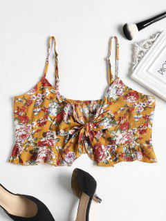 Floral Print Tie Front Crop Cami Top - School Bus Yellow S