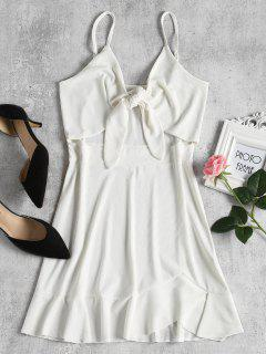 Slip Tie Front Mini Dress - White M