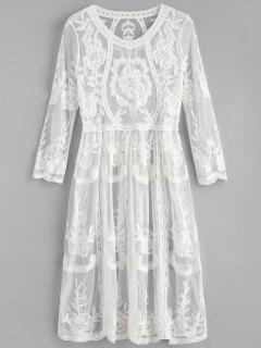 Embroidered Midi Beach Dress - White