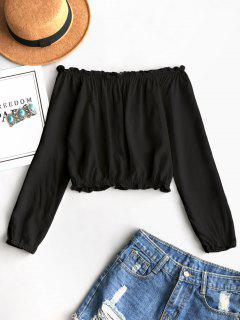Ruffles Off Shoulder Cropped Blouse - Black