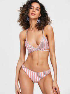 Kreuz Rücken Streifen Wickel Bikini Set - Ral3017 Rosa S