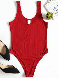 Cut Out Ribbed Bodysuit - Red M