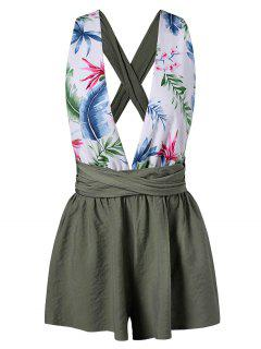 Leaf Plunging Back Criss Cross Romper - Green S