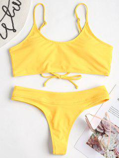 Lace-up Back Thong Bikini Set - Yellow M