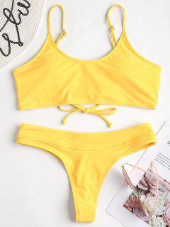 Conjunto De Bikini Con Tanga Con Cordones - Amarillo S