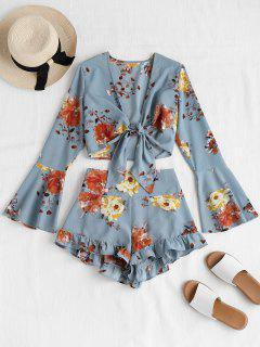 Bell Sleeve Floral Tie Front Matching Set - Baby Blue M