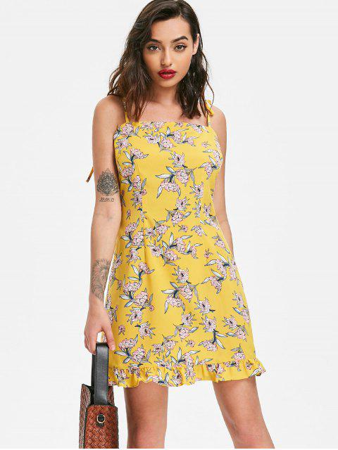 shops Ruffles Floral Print Cami Dress - YELLOW L Mobile