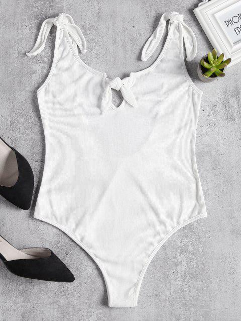 fancy Knitted Knotted Cut Out Bodysuit - WHITE L Mobile