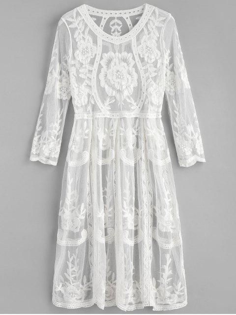 Robe de Plage Mi-Longue Brodée - Blanc Taille Unique Mobile