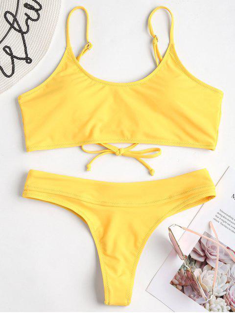 Conjunto de Bikini con Tanga con Cordones - Amarillo S Mobile