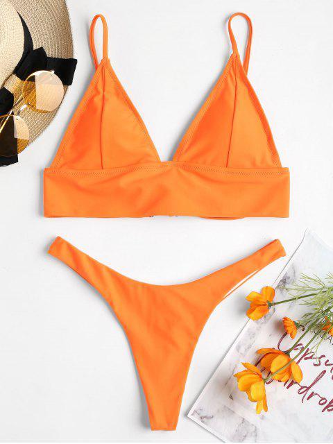 Rücken Schnürung Tanga-Bikini-Set - Dunkles Orange M Mobile