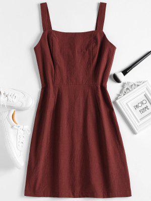 Shirred Panel Half Buttoned Mini Dress - Red Wine M