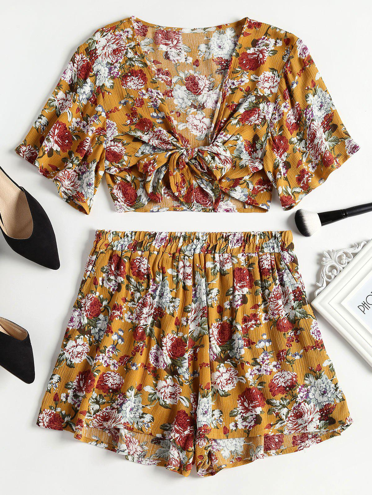 Tie Front Crop Top and High Waisted Shorts Set