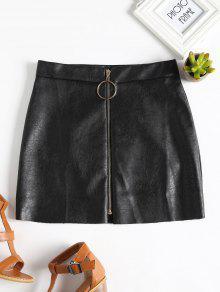 تنورة مصغرة بجلد اصطناعي بسحاب - أسود L