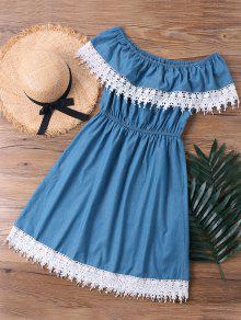 Del Hombro Borde Denim L De 243;n De Encaje Fuera Vestido De Azul Superposici wzBYCqc