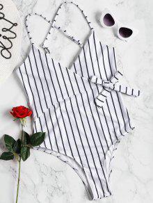 مخطط التفاف ملابس السباحة - أبيض M