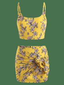 Floral Piezas M Amarillo Dos Conjunto De Cami 6d8tq