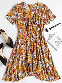 فستان طباعة الأزهار معقد المقدمة - الحافلة المدرسية الصفراء L