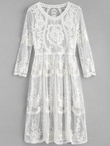 فستان ميدي مطرز مطرز - أبيض