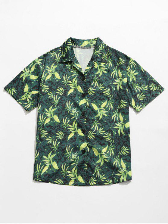 Camisa de verano con estampado de hojas - Verde M