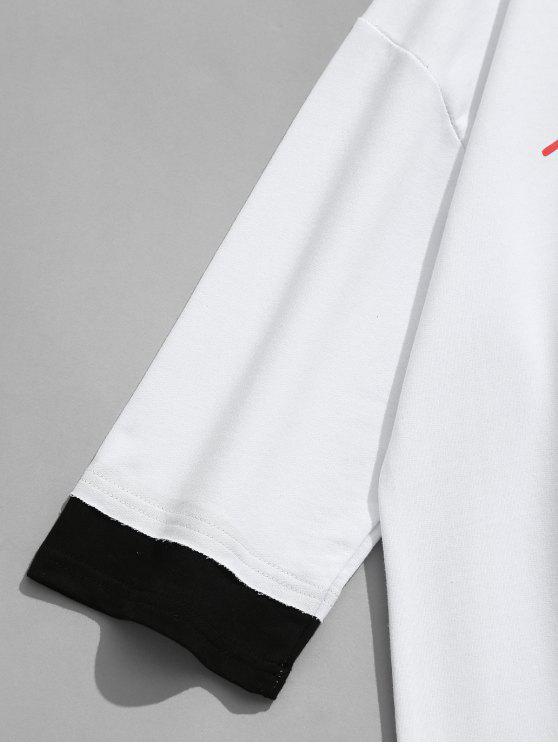 Print Half Tiger L T shirt White Letter Sleeve 5fqzwnvv