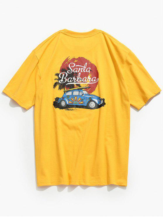 T-Shirt Stampata A Macchina Con Colletto Al Girocollo - Mostarda 2XL