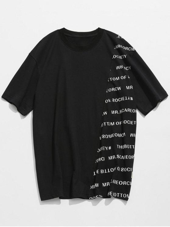 T-shirt In Cotone Con Maniche Corte E Stampa A Lettera - Nero XL